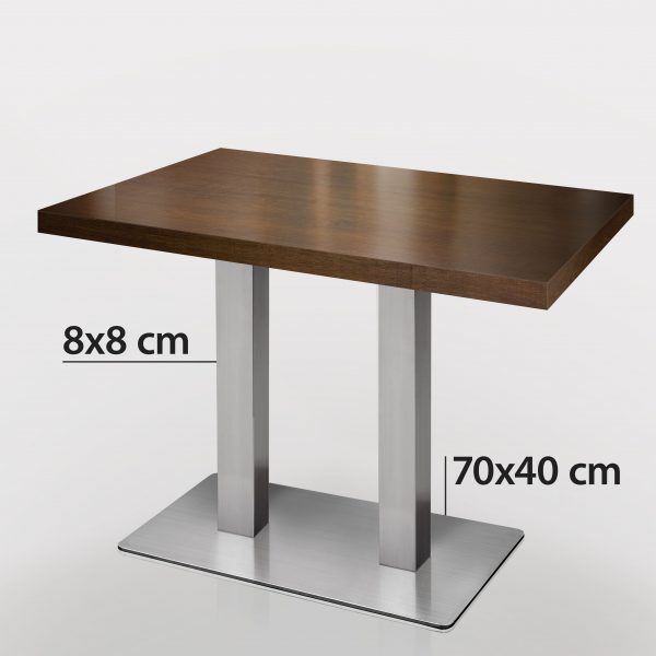 Walnoot horeca tafel met rvs onderstel 120 x 70