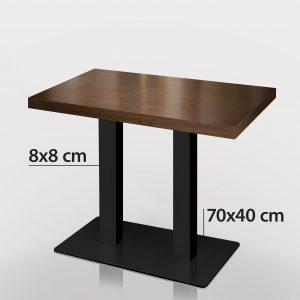 Horeca tafel Walnoot met zwart onderstel