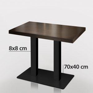 Horeca tafel 120 x 70 wenge met zwart onderstel
