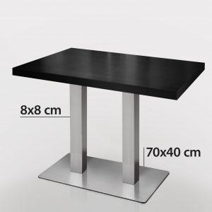 Horeca tafel zwart met rvs onderstel 120 x 70