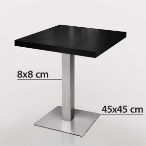 Zwart tafel 70 x 70 RVS